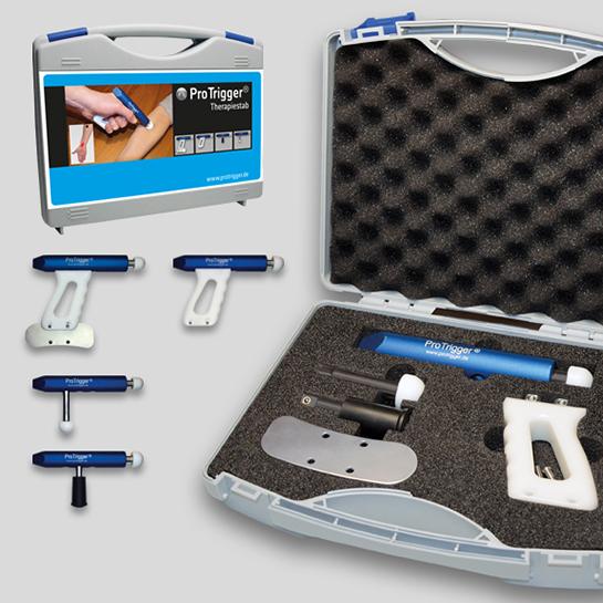 ProTrigger® Therapiestab blau, Komplettset mit Faszienschieber und Griff, inkl. Koffer